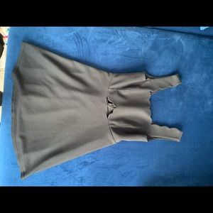 Black scalloped neck mini dress with cutout